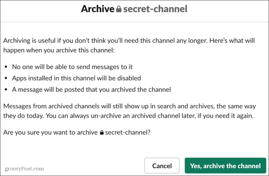 Archive a Channel