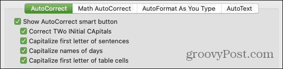 AutoCorrect Capitalization on Mac
