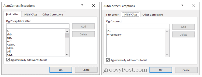 AutoCorrect Exceptions on Windows
