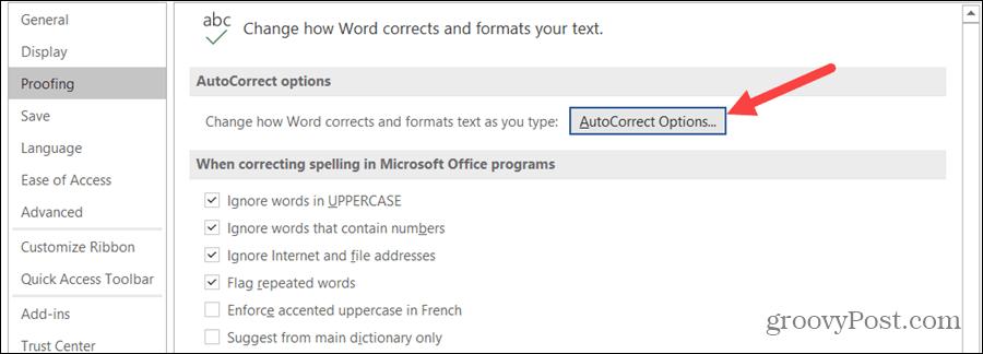 AutoCorrect Options on Windows