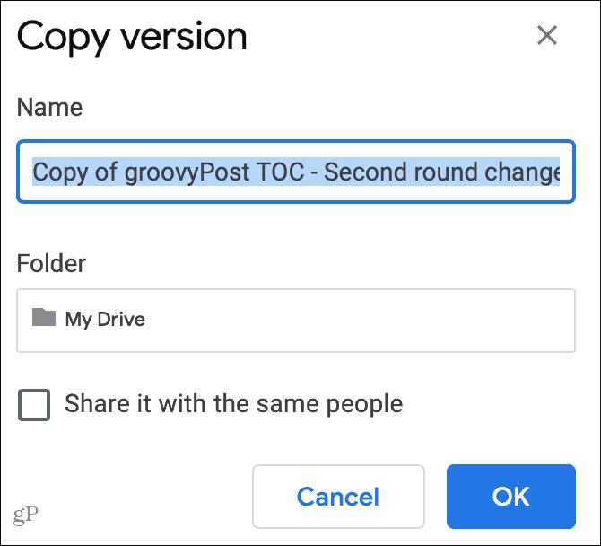 Copy a Version