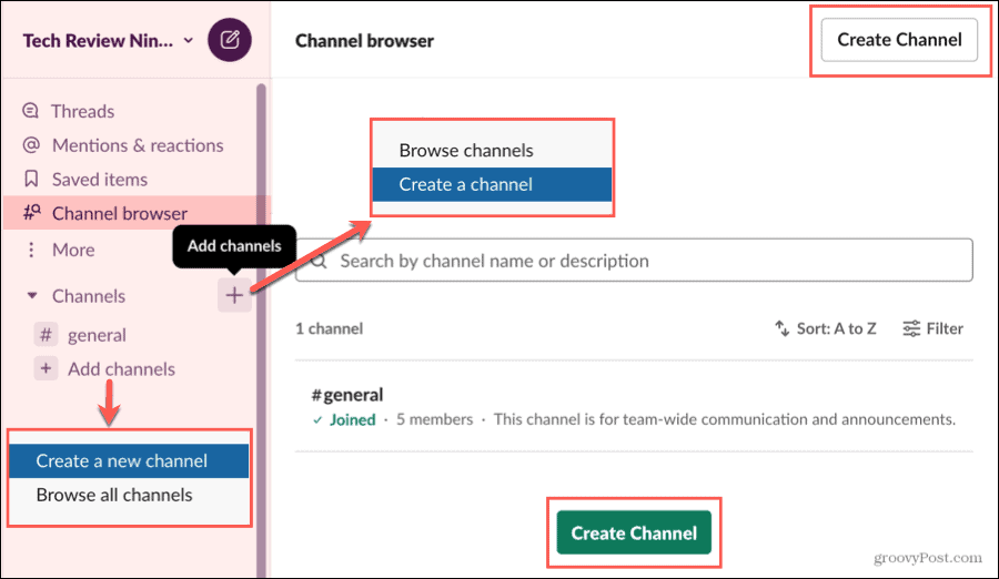 Create a Channel in the Slack Channel Browser