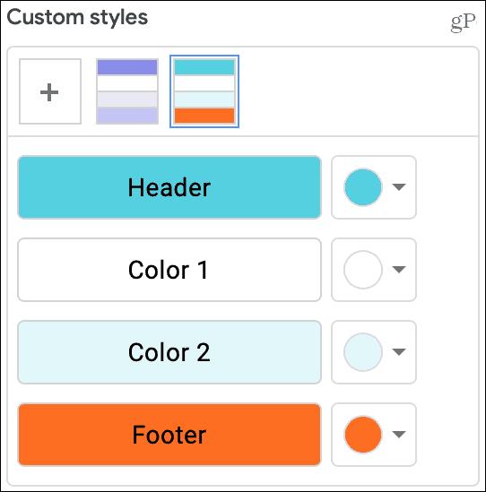 Alternating Color Custom Styles