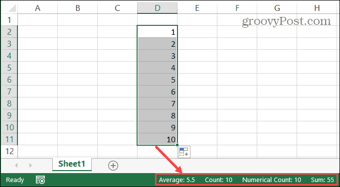 Excel Status Bar For Selected Cells