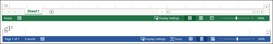 Excel and Word Status Bars