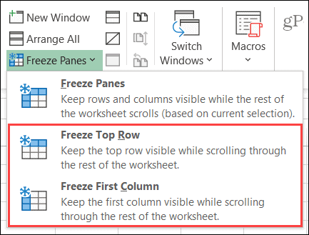Freeze Column or Row in Excel on Windows