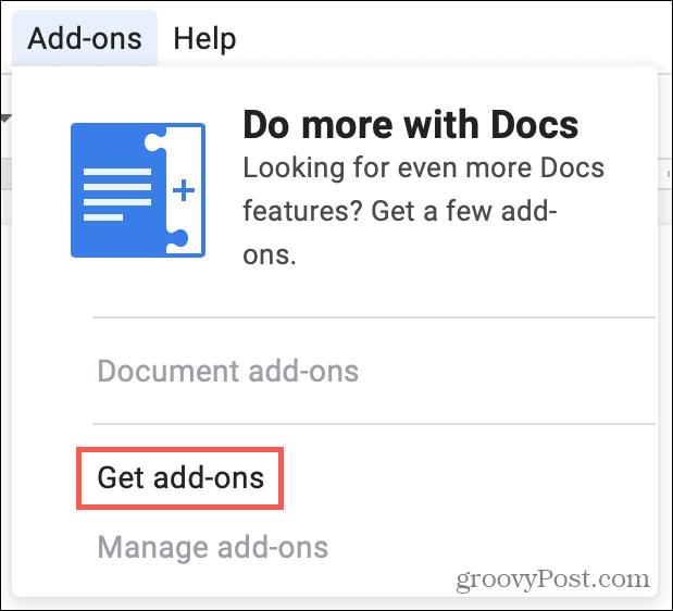 Get Addons in Google Docs