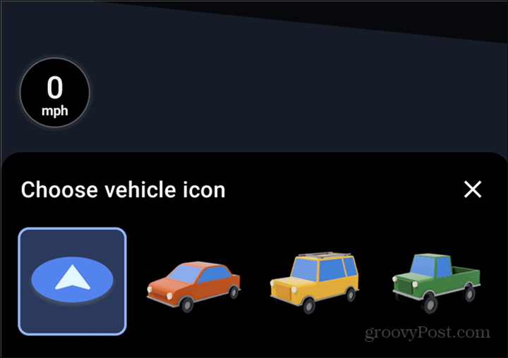 Google Maps car symbol choice