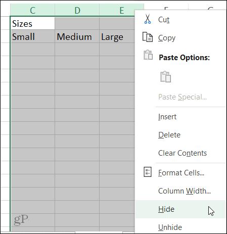 Hide Column Shortcut in Excel on Windows