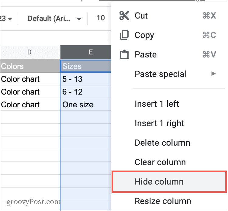 Hide a Colums in Google Sheets
