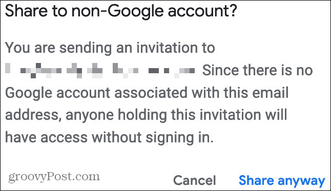 Share With a Non-Google Account