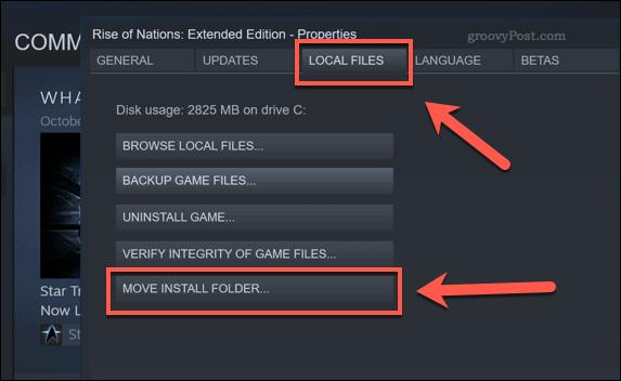 Steam Move Install Folder option button