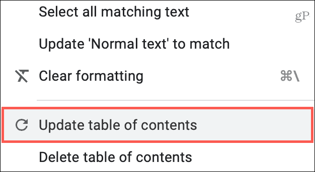 Update Table Of Contents in Menu