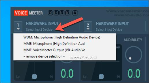 Selecting a VoiceMeeter hardware input option