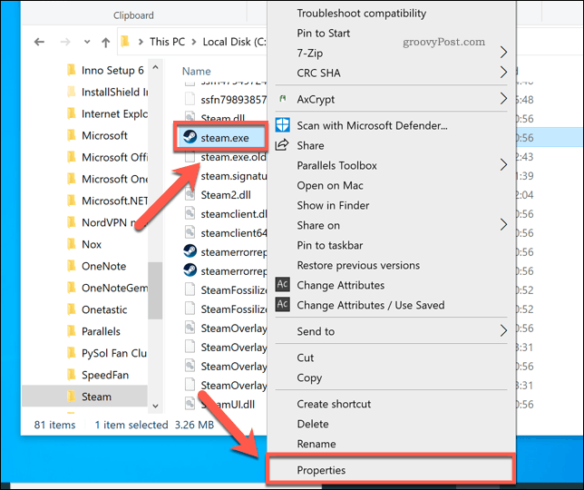 Accessing Steam properties in Windows File Explorer
