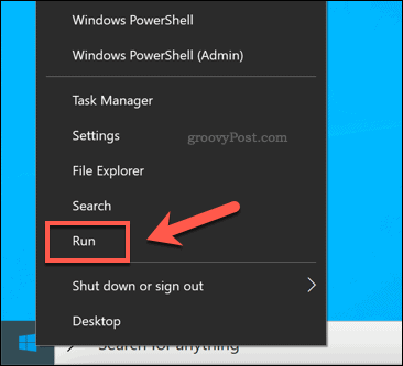 Launching Run through Windows Start extra options menu