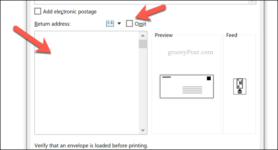 Adding a return address for envelopes in Word
