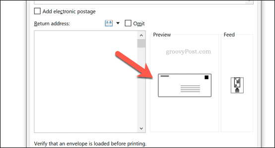 The Envelope preview icon in Word