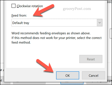 Confirming Word envelope printer feed options