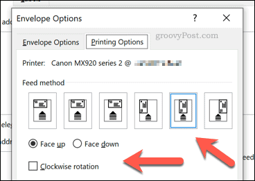 Word envelope printer feed options
