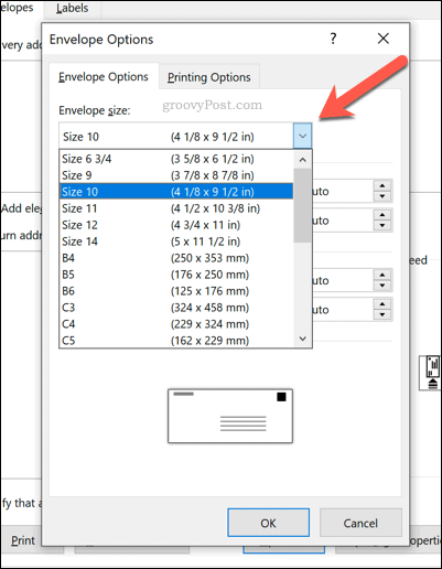 Word envelope sizing options