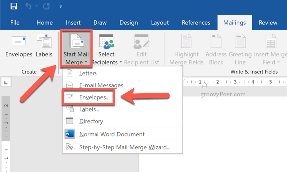 Word envelopes mail merge options