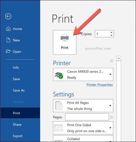 Word printing menu