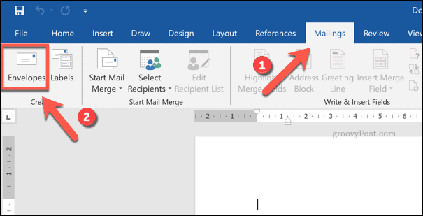 Microsoft Word Envelopes Option