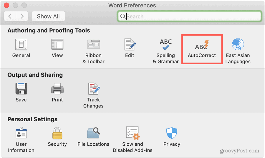 Word Preferences AutoCorrect on Mac