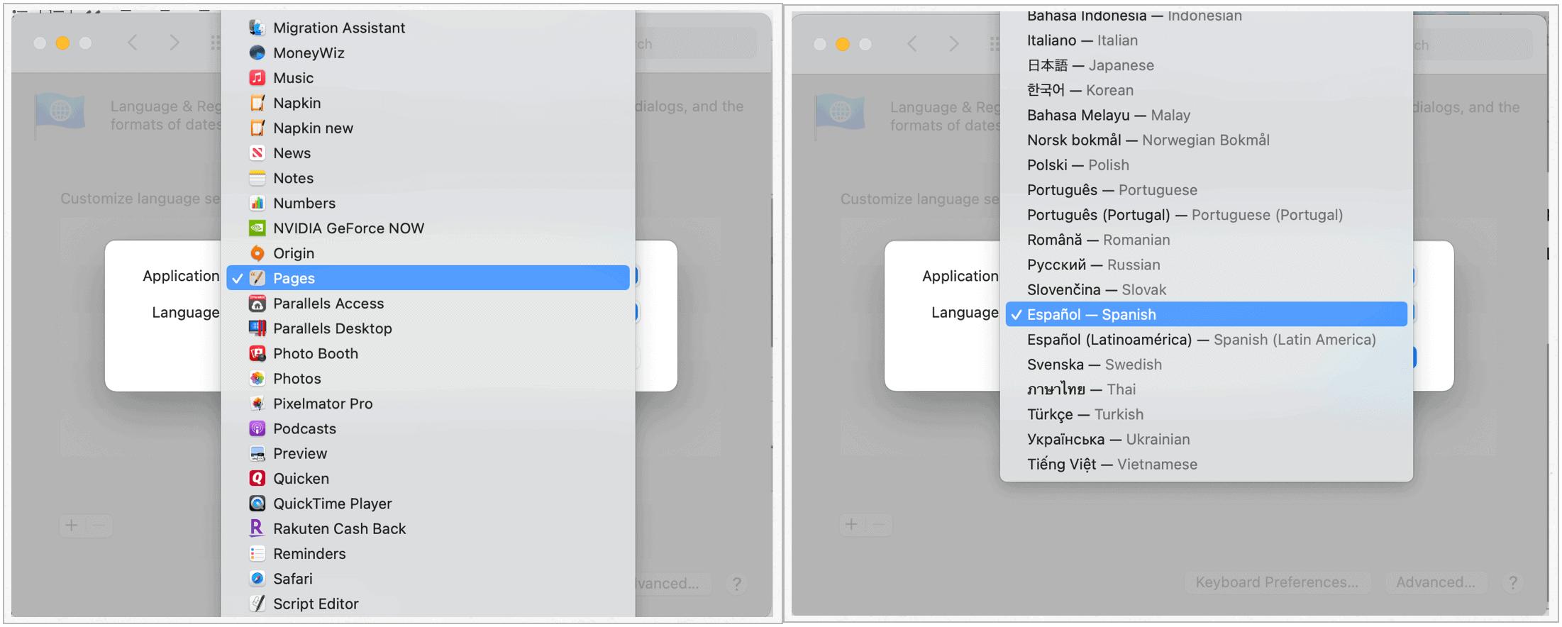 Change Mac default language by app