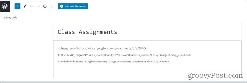 iframe code in wordpress