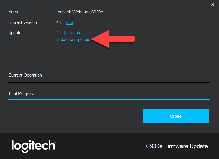 update-logitech-webcam-firmware-completed