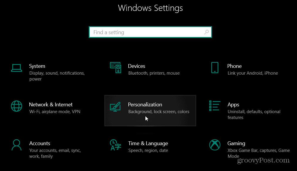 Personalization Settings Windows 10