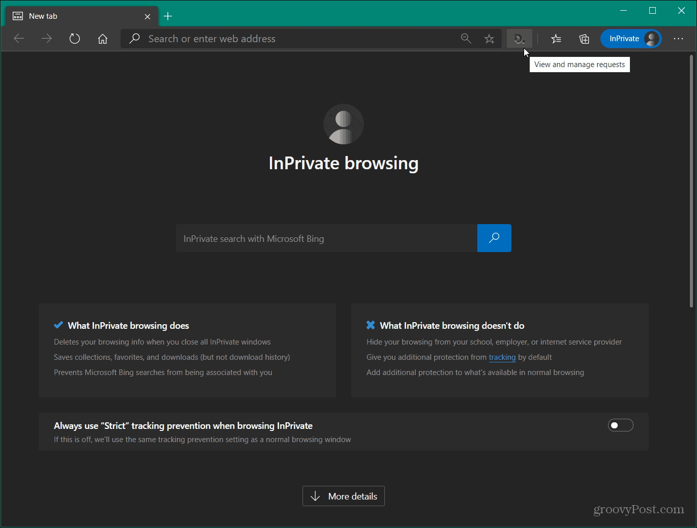 InPrivate Extension Enabled