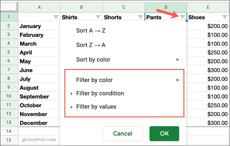 Apply a Filter