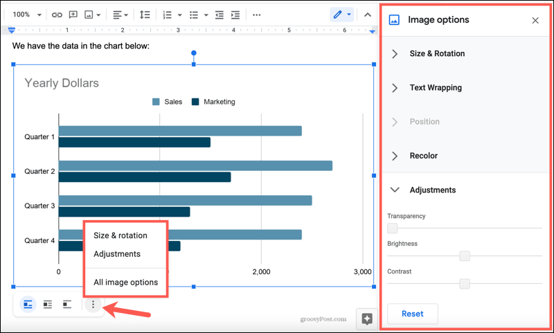 Chart Image Options in Google Docs