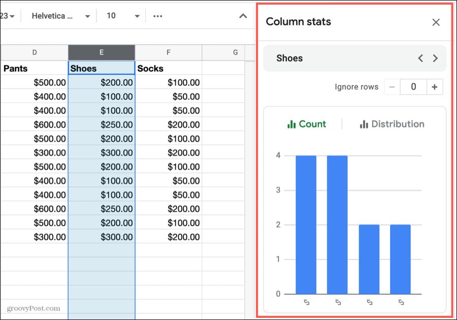 Column Stats Sidebar