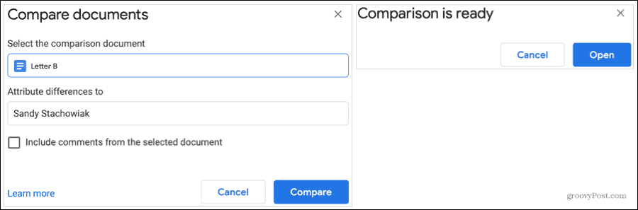 Compare Documents and Ready