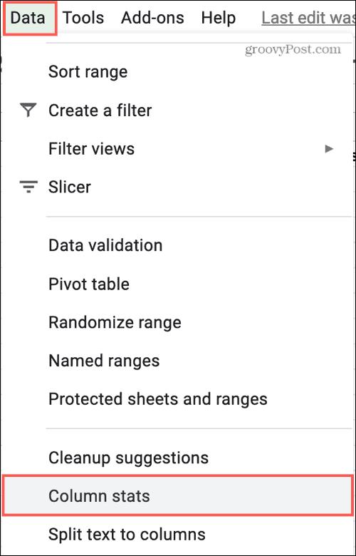 Data Column Stats in Google Sheets