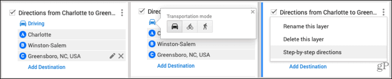 Directions Layer Options
