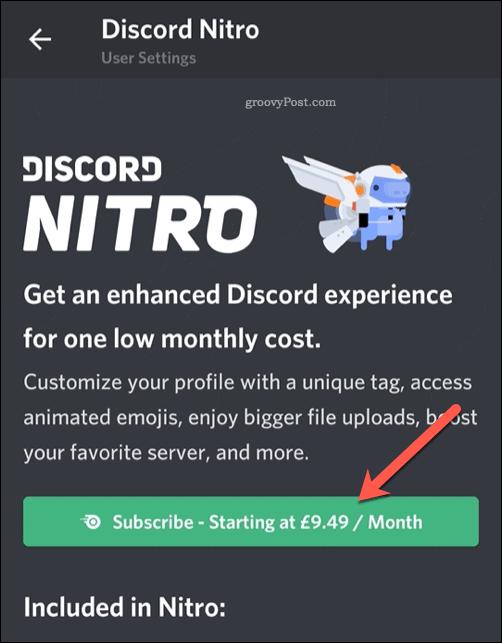 Discord Nitro Mobile Subscribe Button