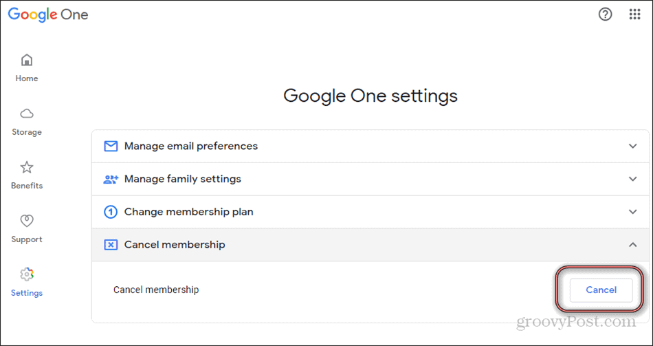 Google One cancel membership