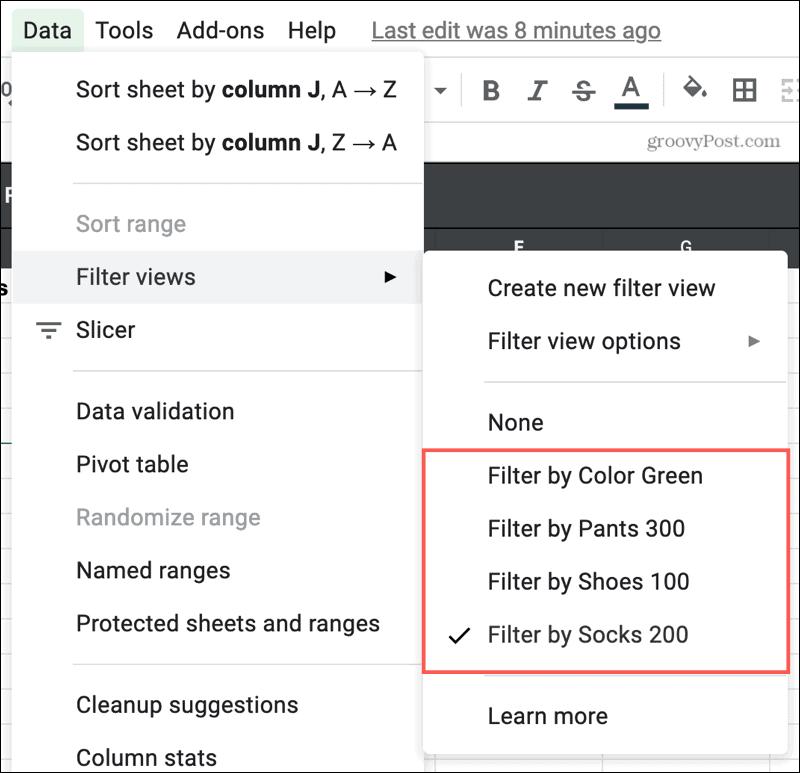 List Of Filter Views