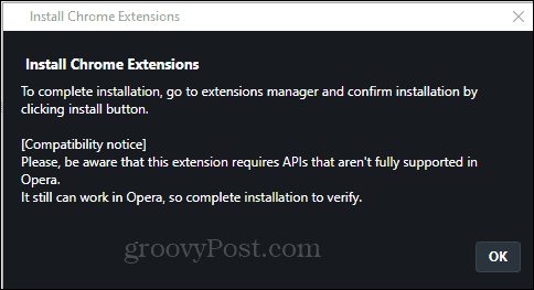 Opera Install Chrome Extension install confirm