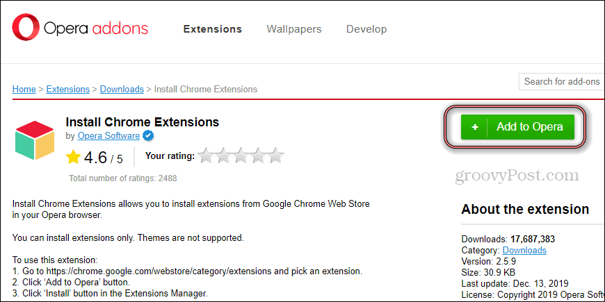 Opera Install Chrome Extension install