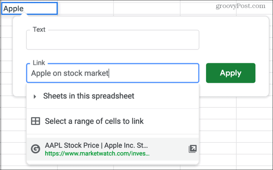 Search for a Link in Google Sheets