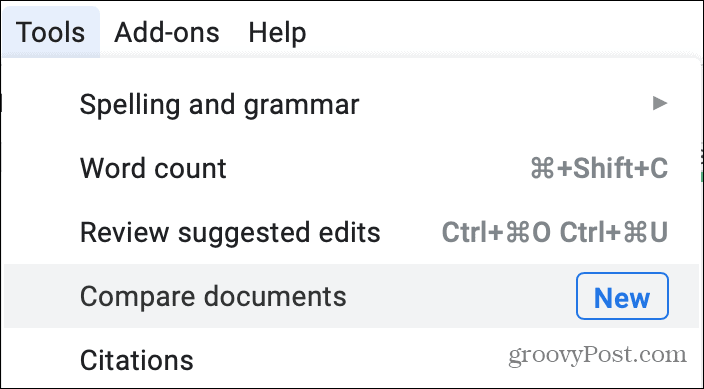 Tools Compare Documents in Google Docs