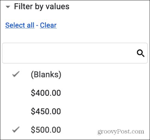 Value Filter