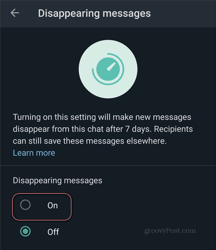WhatsApp Disappearing Messages Enable