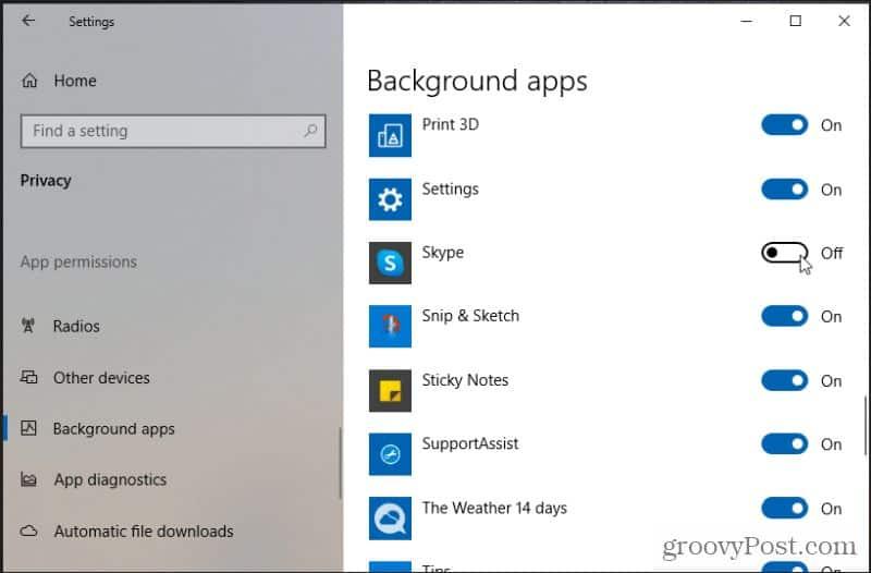 disable skype background app